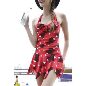 Trendy Halter Geometric Print Asymmetrical Women's Swimwear