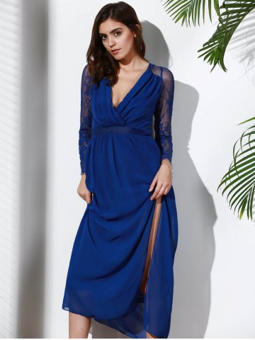 Best Plunging Neck Long Sleeve Furcal Flowing Prom Dress - XL DEEP BLUE Mobile