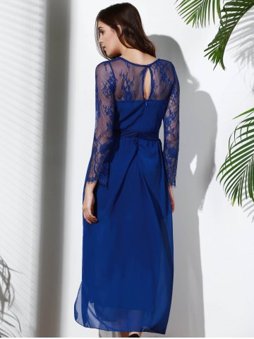 Shops Plunging Neck Long Sleeve Furcal Flowing Prom Dress - XL DEEP BLUE Mobile