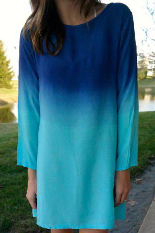 Shops Stylish Scoop Collar Long Sleeve Ombre Color Women's Dress BLUE S