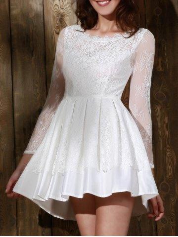 Outfit Long Sleeve Backless Short Skater Lace Graduation Dress WHITE M
