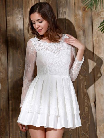 Store Long Sleeve Backless Skater Lace Graduation Dress - M WHITE Mobile
