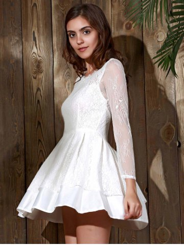 Buy Long Sleeve Backless Skater Lace Graduation Dress - M WHITE Mobile