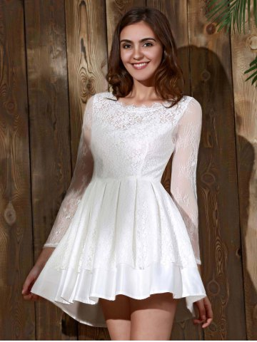Chic Long Sleeve Backless Skater Lace Graduation Dress - M WHITE Mobile