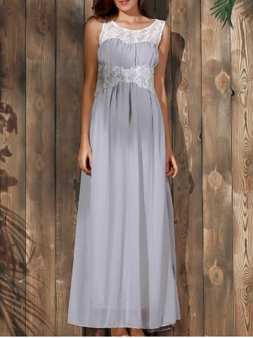 Outfit Sexy Scoop Collar Sleeveless Spliced Flower Pattern Women's Maxi Dress GRAY M
