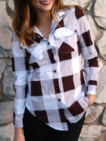 Best Long Sleeve Plaid Side Slit Button Up Shirt DEEP RED S