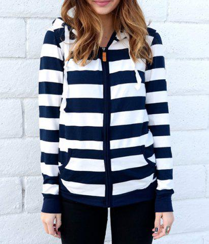 Long Sleeve Striped Zippered Women's Hoodie - BLUE/WHITE M