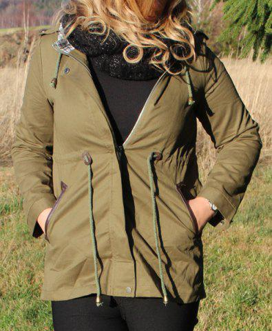 Shops Hooded Waist Drawstring Spliced Long Coat Jacket ARMY GREEN M