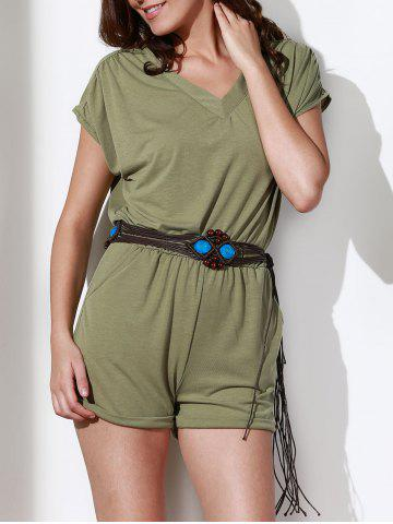 Store Casual Style V Neck Short Sleeve Solid Color Romper For Women