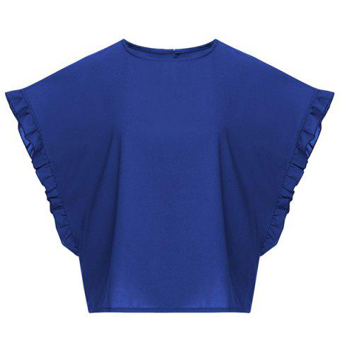 Unique Stylish Jewel Neck Batwing Sleeve Ruffled Chiffon T-Shirt For Women
