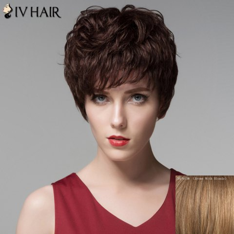 Fashion Fluffy Neat Bang Human Hair Curly Short Wig For Women