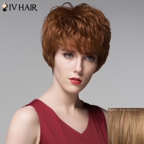 Best Fluffy Inclined Bang Human Hair Curly Short Wig For Women