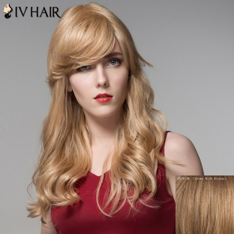 Chic Fluffy Inclined Bang Human Hair Curly Long Wig For Women