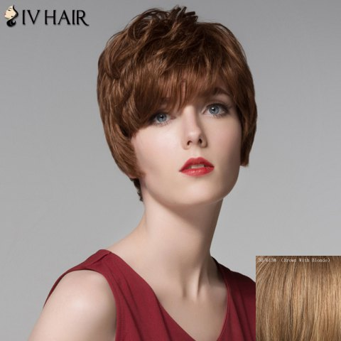 Discount Fluffy Inclined Bang Human Hair Short Wig For Women