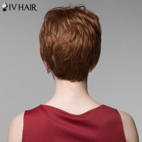 Fashion Fluffy Inclined Bang Human Hair Short Wig For Women - AUBURN BROWN #30  Mobile