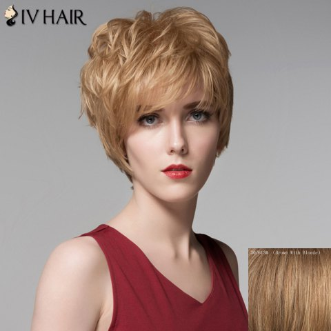 Trendy Fluffy Side Bang Human Hair Short Wig For Women