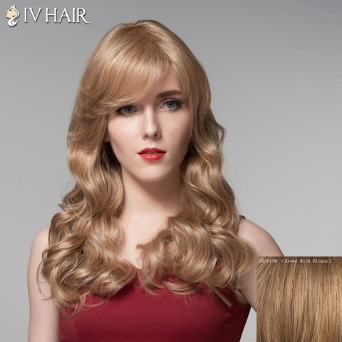 Store Ladylike Side Bang Human Hair Long Wavy Wig For Women
