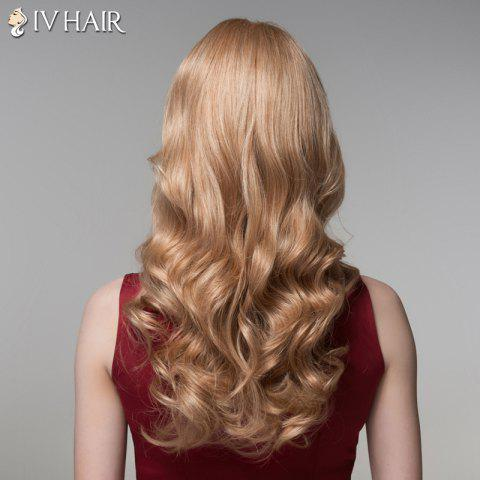 Hot Ladylike Side Bang Human Hair Long Wavy Wig For Women - BLONDE  Mobile