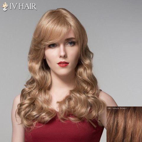 Hot Ladylike Side Bang Human Hair Long Wavy Wig For Women - AUBURN BROWN #30  Mobile