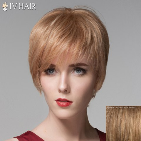 Sale Fluffy Human Hair Side Bang Short Straight Wig For Women