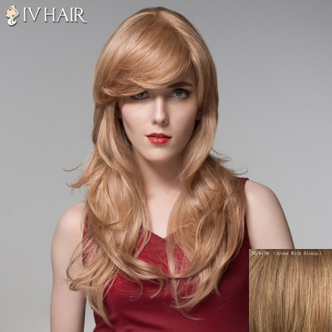 Affordable Trendy Inclined Bang Human Hair Long Curly Wig For Women