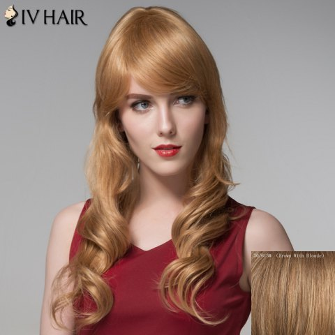 Latest Ladylike Side Bang Human Hair Curly Long Wig For Women