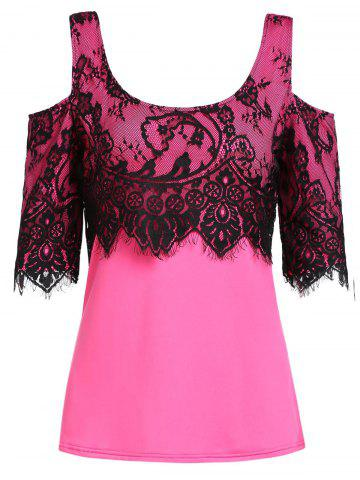 Hot Stylish Scoop Neck Short Sleeve Lace Spliced Blouse For Women