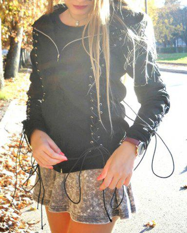 Latest Chic Hooded Long Sleeve Lace-Up Zippered Women's Hoodie BLACK S