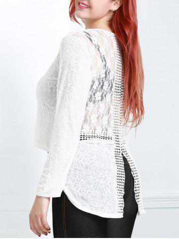 Store Long Sleeve Lace Trim Sheer T-Shirt OFF WHITE L