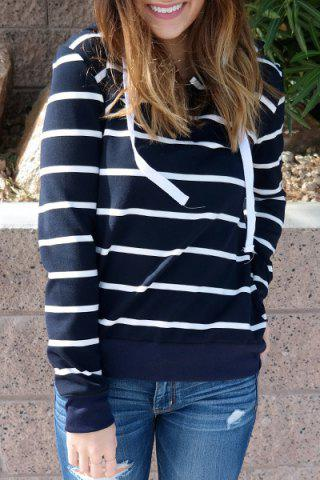 Hot Stylish Hooded Long Sleeve Drawstring Striped Women's Hoodie CADETBLUE M