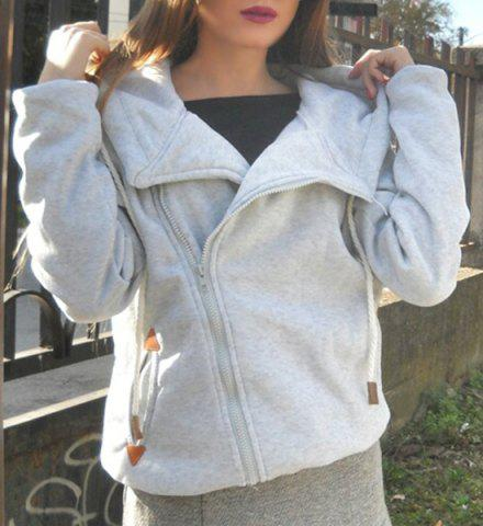 Online Chic Long Sleeve Pure Color Hoodie For Women GRAY S