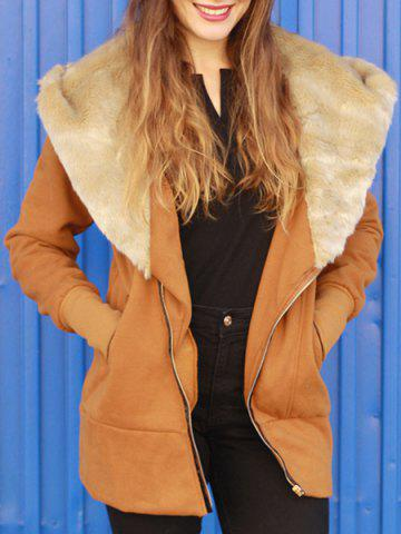 Outfit Fashionable Hooded Long Sleeve Spliced Zippered Women's Coat