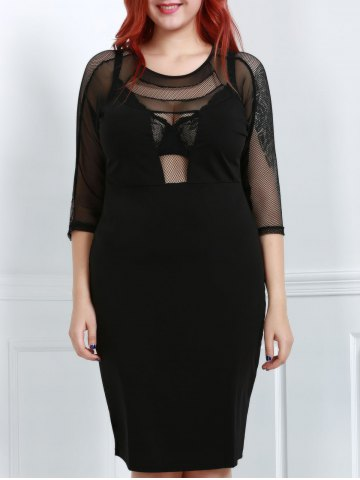 Plus Size Midi Scoop Neck Mesh Spliced Fitted Dress - Black - 2xl