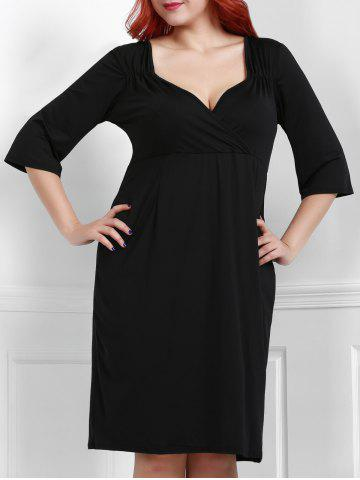 Best Noble Sweetheart Neck 3/4 Sleeve Black Bodycon Women's Dress BLACK 2XL