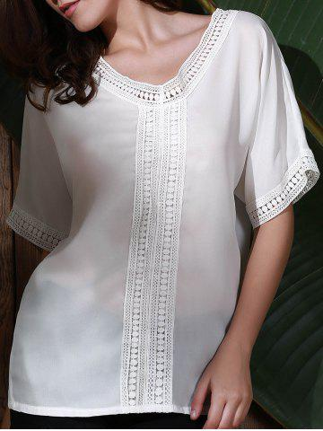 Affordable Graceful V Neck Half Sleeve See-Through White Laciness Blouse For Women
