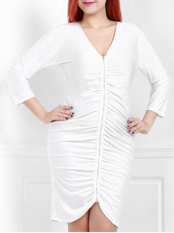 Latest Sexy Plunging Neck White 3/4 Sleeve Dress For Women