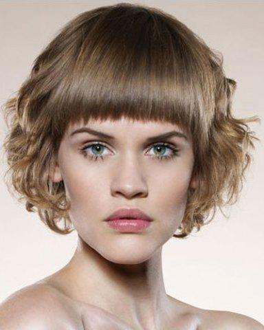 Short Full Bang Capless Fluffy Curly Light Brown Synthetic Wig 174968301
