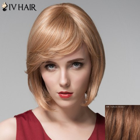 Affordable Vogue Side Bang Capless Bob Style Short Straight Human Hair Wig For Women - AUBURN BROWN #30  Mobile