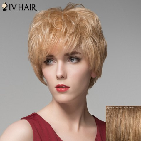 Cheap Bouffant Wave Capless Elegant Short Inclined Bang Human Hair Wig
