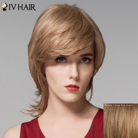 Outfits Stunning Medium Layered Fluffy Wavy Inclined Bang Capless Human Hair Wig For Women