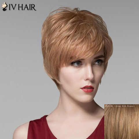 Best Fluffy Natural Straight Capless Noble Short Side Bang Human Hair Wig For Women
