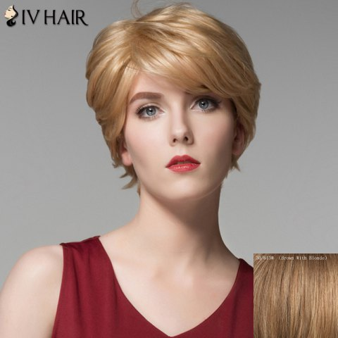 Latest Vogue Short Side Bang Shaggy Wave Capless Real Natural Hair Wig For Women