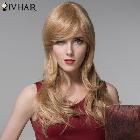Chic Ladylike Side Bang Capless Fluffy Wavy Long Human Hair Wig