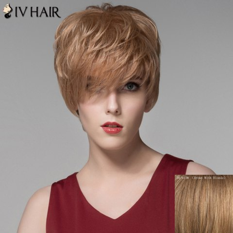 Shops Assorted Color Fashion Side Bang Capless Fluffy Wavy Short Human Hair Wig For Women