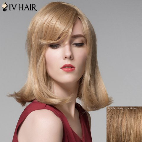 Fashion Attractive Straight Tail Adduction Capless Vogue Medium Side Bang Human Hair Wig For Women