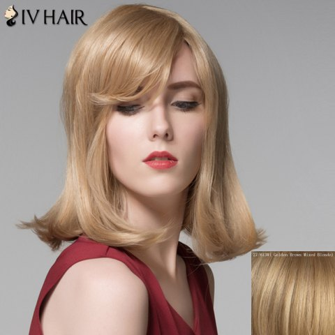 Cheap Attractive Straight Tail Adduction Capless Vogue Medium Side Bang Human Hair Wig For Women