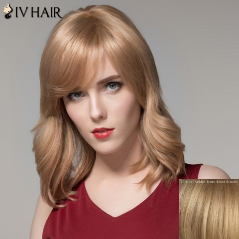 Graceful Medium Side Bang Fluffy Natural Wavy Real Natural Hair Wig For Women - GOLDEN BROWN/BLONDE