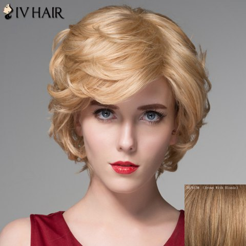 Chic Elegant Side Bang Capless Fluffy Wavy Short Human Hair Wig