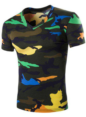 Hot Camouflage Loose Fit Short Sleeves V-Neck T-Shirt For Men BLACKISH GREEN XL