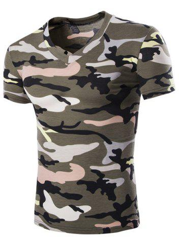 Camouflage Loose Fit Short Sleeves V-Neck T-Shirt For Men - Army Green - Xl